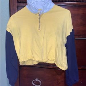 Yellow Blue Cropped Long sleeve